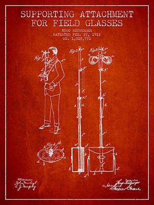 Glass Wall Digital Art - Support For Field Glasses Patent From 1912 - Red by Aged Pixel