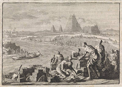 Oppression Drawing - Suppression Of The Israelites In Egypt, Jan Luyken by Jan Luyken And Pieter Mortier