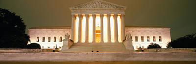 Illuminated Photograph - Supreme Court Building Illuminated by Panoramic Images