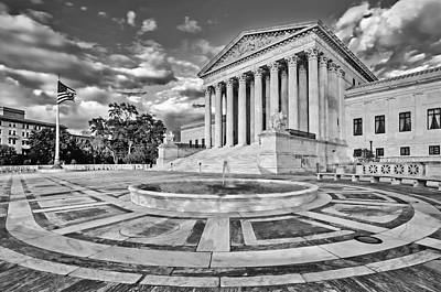 Supreme Court Of The United States Bw Art Print by Susan Candelario
