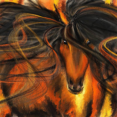 Abstract Equine Painting - Equine Vagabond - Bay Horse Paintings by Lourry Legarde
