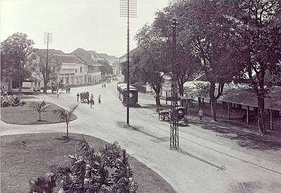 Surabaya With Trams, Trolleys And Passersby Print by Artokoloro