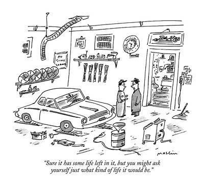 Mechanic Drawing - Sure It Has Some Life Left by Michael Maslin