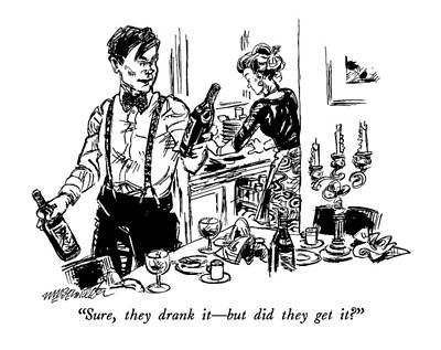 Wine Drawing - Sure, They Drank It - But Did They Get It? by William Hamilton