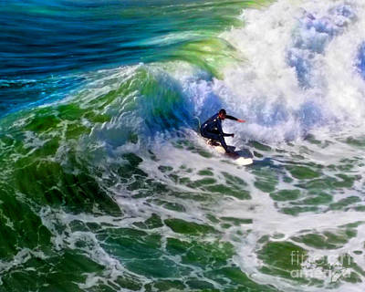 Mixed Media - Surf 2 Bottom Turn by Glenn McNary