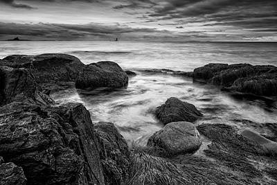 Photograph - Surf Among The Boulders With Whaleback Light by Jeff Sinon