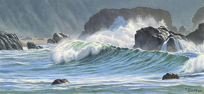 Surf And Rocks-harris Beach Art Print by Paul Krapf