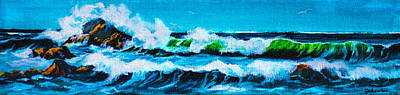 Painting - Surf Big Sur National Park Viewpoint by Bob and Nadine Johnston