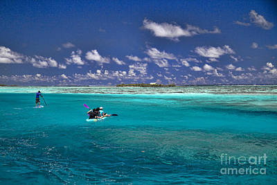 Surf Board Paddling In Moorea Art Print by David Smith
