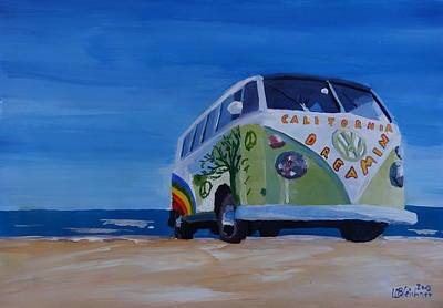 Bulli Painting - The Vw Volkswagen Bulli Series - The California Dreaming Surf Bus by M Bleichner