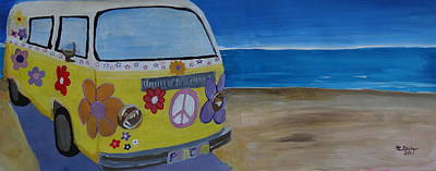 Bulli Painting - Surf Bus Series - The Lady Flower Power Peace Bus by M Bleichner