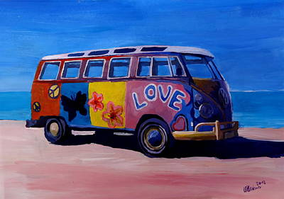 Bulli Painting - The Vw Volkswagen Bulli Series - The Love Surf Bus by M Bleichner