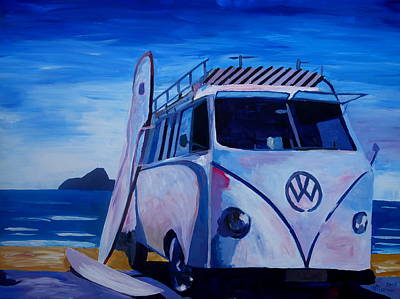 Bulli Painting - Surf Bus Series - The White Volkswagen by M Bleichner