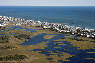 Topsail Photograph - Surf City North Carolina Aerial by Betsy Knapp
