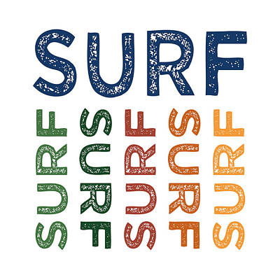 Surfing Art Digital Art - Surf Cute Colorful by Flo Karp