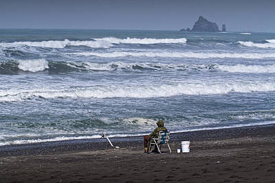 Photograph - Surf Fisherman On Rialto Beach In Washington State No. 0559 by Randall Nyhof