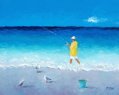 Impressionist Beach Painting - Surf Fishing by Jan Matson