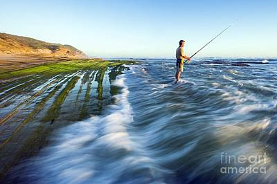 Surf Fishing, South Africa Art Print by Peter Chadwick