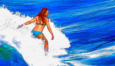 Cafeart Digital Art - Surf In Color by Michel Emery