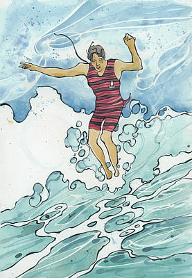 Painting - Surf Leap by Harry Holiday