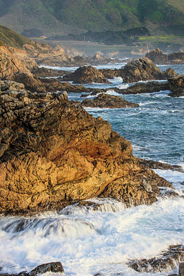 Of Big Sur Beach Photograph - Surf Moves On Rock by Tom Norring