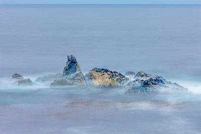 Of Big Sur Beach Photograph - Surf On Rocks Garrapata State Park, Big by Tom Norring