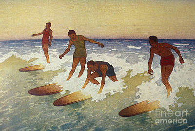 Photograph - Surf-riders by  Hawaiian Legacy Archive