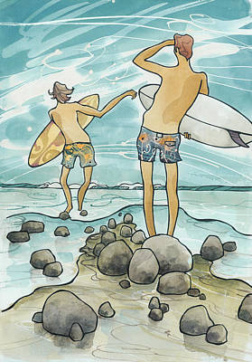 Surfing Art Painting - Surf Rocks by Harry Holiday