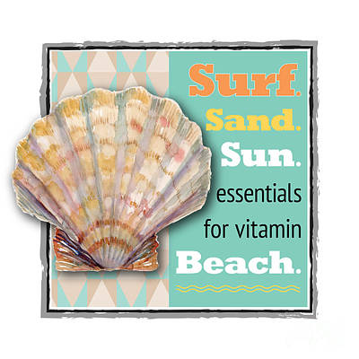 Animals Paintings - Surf. Sand. Sun. essentials for vitamin Beach. by Amy Kirkpatrick