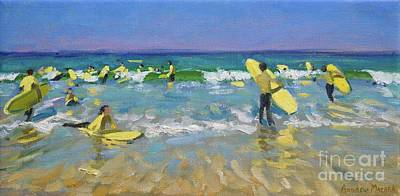 People On Beach Wall Art - Painting - Surf School At St Ives by Andrew Macara