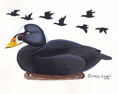 James Lewis Painting - Surf Scoter Decoy  by James Lewis