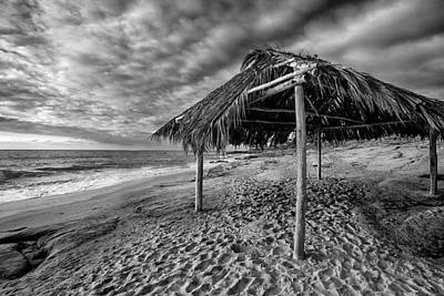 Shack Photograph - Surf Shack - Black And White by Peter Tellone