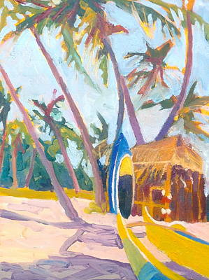 Hawaiian Canoe Painting - Surf Shack by Diane Renchler