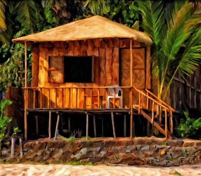 Chillin Painting - Surf Shack by Michael Pickett