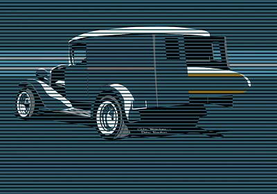 Painting - Surf Truck Ocean Blue by MOTORVATE STUDIO Colin Tresadern