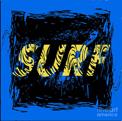 Waves Digital Art - Surf Typography, T-shirt Graphics by Lakoka