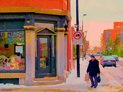Rue Notre Dame Painting - Surface Jalouse Design Boutique Notre Dame West Montreal Winter City Scene Carole Spandau by Carole Spandau