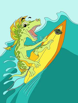 Catch A Wave Digital Art - Surfasaurus  by Tammy Long