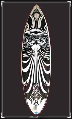 Puravida Mixed Media - Surfboard Art Owl by MarceloSouza TattoosnGraphx