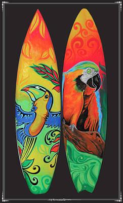 Costarica Mixed Media - Surfboard Art Paradise by MarceloSouza TattoosnGraphx