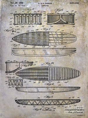 Surfboards Mixed Media - Surfboard Patent Drawing 1950 by Jon Neidert