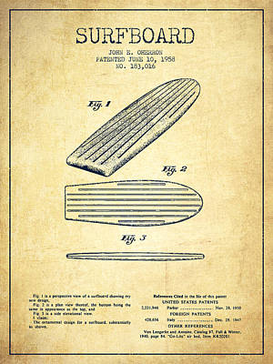 Surfboard Patent Drawing From 1958 - Vintage Art Print by Aged Pixel