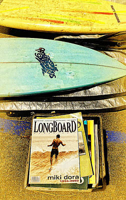 Rincon Beach California Photograph - Surfboards And Magazines by Ron Regalado