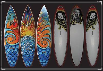 Surfboards Art Waves Art Print