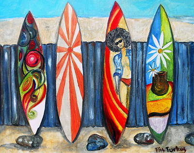 Painting - Surfboards by Pristine Cartera Turkus