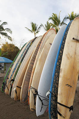 Surfboards Standing Up Against A Rack Art Print by Keith Levit