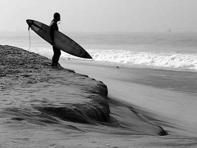 Photograph - Surfer And Board Checking Waves by Jeff Lowe
