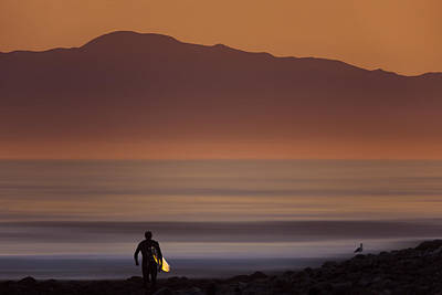 Photograph - Surfer Approaching Rincon Mg_9505 by David Orias