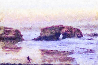 Surfers Mixed Media - Surfer At Natural Bridges State Beach by Priya Ghose