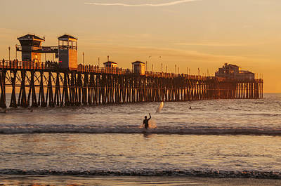 Photograph - Surfer At Oceanside Pier by Lee Kirchhevel